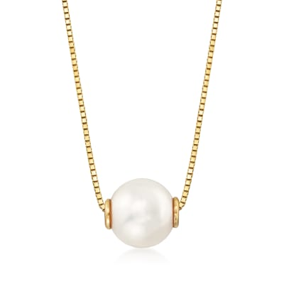 7-7.5mm Cultured Pearl Pendant Necklace in 14kt Yellow Gold