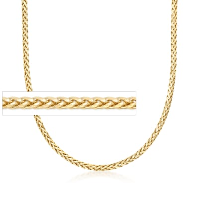 3.2mm 14kt Yellow Gold Franco Wheat Chain Necklace