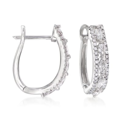 .62 ct. t.w. Diamond Hoop Earrings in 14kt White Gold