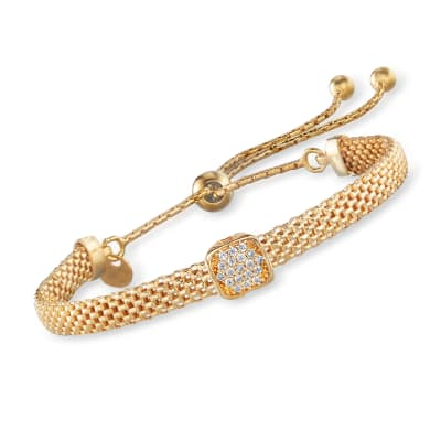 Italian 18kt Gold Over Sterling Mesh Bolo Bracelet with CZ Station