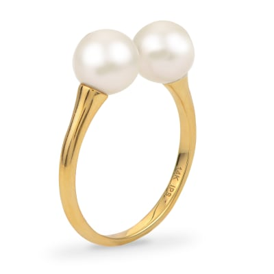 6.5-7mm Cultured Pearl Open-Space Ring in 14kt Yellow Gold