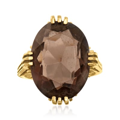 C. 1960 Vintage 16.50 Carat Smoky Quartz Ring in 10kt Yellow Gold