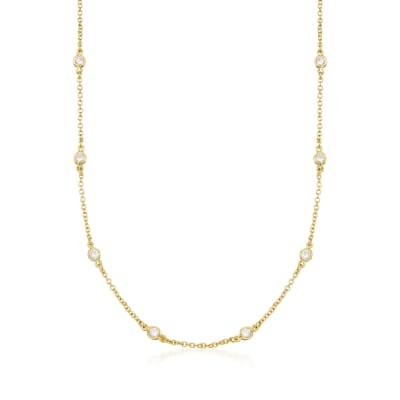 1.00 ct. t.w. CZ Necklace in 14kt Gold Over Sterling