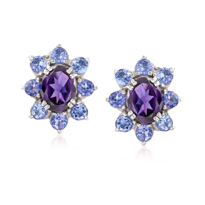2.20 ct. t.w. Amethyst and 1.60 ct. t.w. Tanzanite Halo Drop Earrings in Sterling Silver