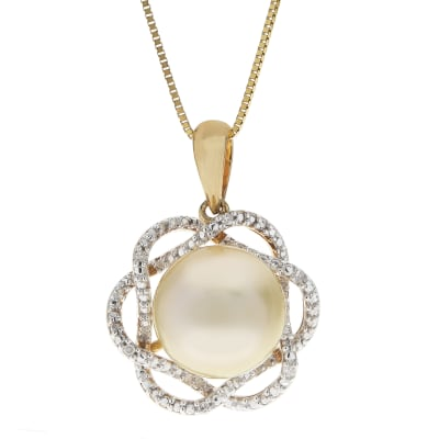 9-10mm Golden Cultured South Sea Pearl Pendant Necklace in 14kt Yellow Gold