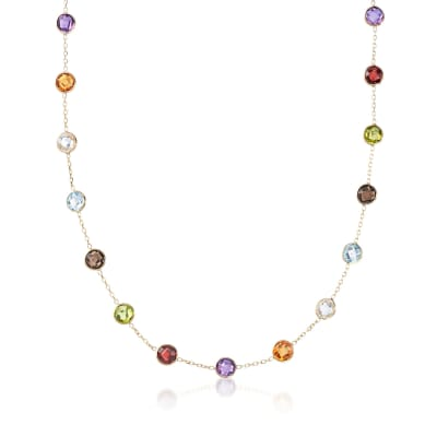13.80 ct. t.w. Bezel-Set Multi-Gemstone Station Necklace in 14kt Yellow Gold
