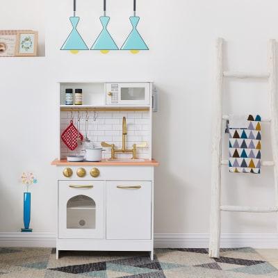 Child's Little Chef Boston Wood Modern Play Kitchen in White