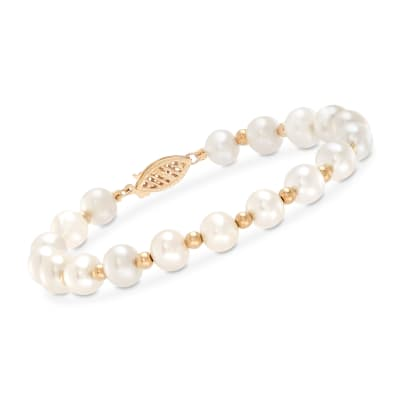 6-7mm Cultured Pearl Bracelet with 14kt Yellow Gold