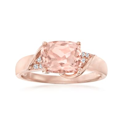 1.90 Carat Morganite Ring with Diamond Accents in 14kt Rose Gold