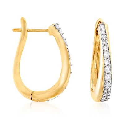 .50 ct. t.w. Diamond Hoop Earrings in 18kt Gold Over Sterling