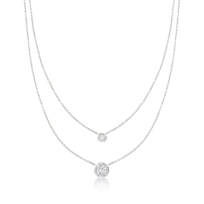 1.45 ct. t.w. Bezel-Set CZ Layered Necklace in Sterling Silver