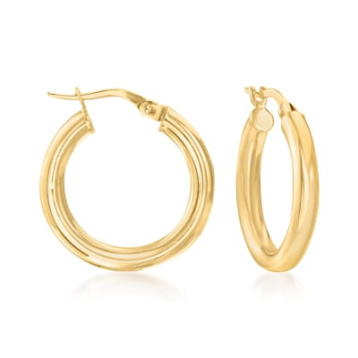 Italian 3mm 18kt Yellow Gold Hoop Earrings