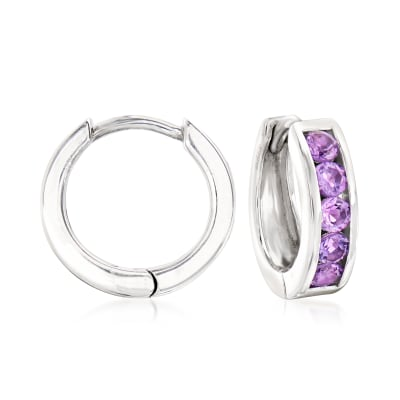 .70 ct. t.w. Amethyst Huggie Hoop Earrings in Sterling Silver