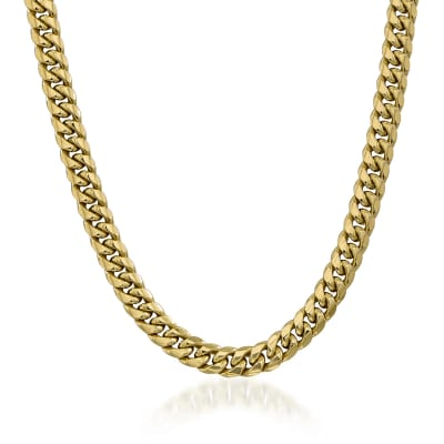 Men's 9.3mm 14kt Yellow Gold Cuban-Link Chain Necklace