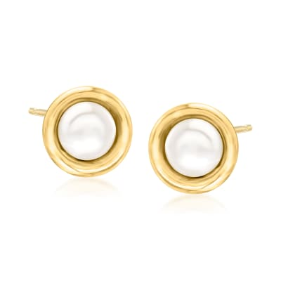 6-6.5mm Bezel-Set Cultured Pearl Earrings in 14kt Yellow Gold