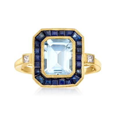 2.00 Carat Aquamarine and 1.60 ct. t.w. Sapphire Ring with .12 ct. t.w. Diamonds in 14kt Yellow Gold