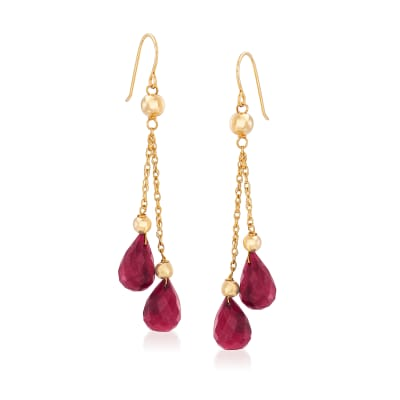 15.00 ct. t.w. Ruby and Bead Double Drop Earrings in 14kt Yellow Gold