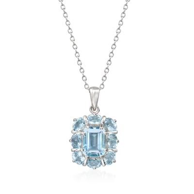 2.70 ct. t.w. Aquamarine Pendant Necklace in Sterling Silver