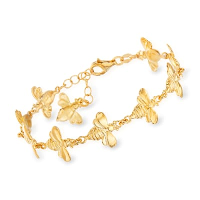 Italian 18kt Gold Over Sterling Bumblebee Bracelet