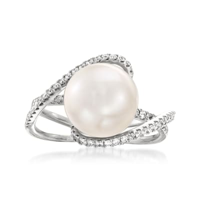 10-11mm Cultured South Sea Pearl and .42 ct. t.w. Diamond Ring in 18kt White Gold