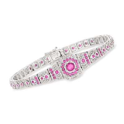 1.80 ct. t.w. Ruby and .96 ct. t.w. Diamond Bracelet in Sterling Silver