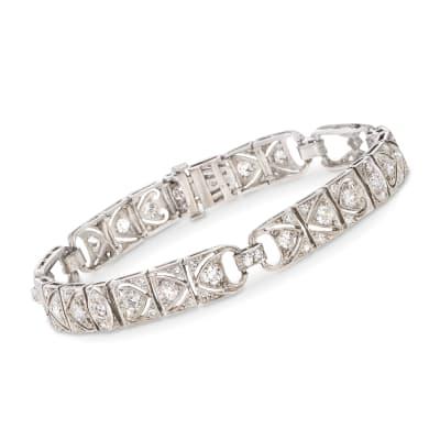 C. 1970 Vintage 3.25 ct. t.w. Diamond Bracelet in Platinum