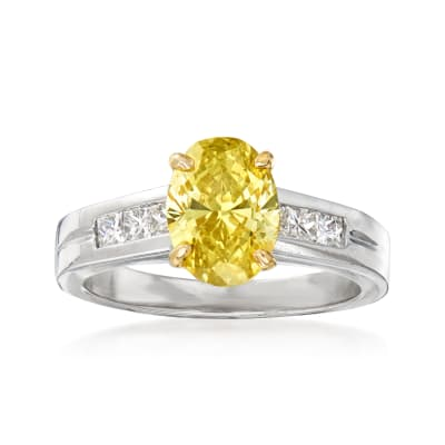 C. 2000 Vintage 1.99 Carat Certified Yellow Diamond and .50 ct. t.w. White Diamond Engagement Ring in Platinum and 14kt Yellow Gold