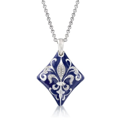 "Belle Etoile ""Josephine""  Blue Enamel and .39 ct. t.w. CZ Pendant in Sterling Silver"