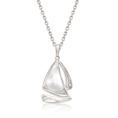 Mother-Of-Pearl Sailboat Pendant Necklace with Diamond Accents in Sterling Silver