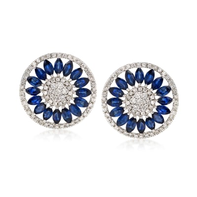 2.80 ct. t.w. Sapphire and .85 ct. t.w. Diamond Circle Drop Earrings