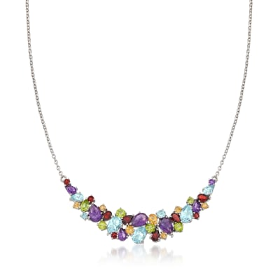 14.00 ct. t.w. Multi-Stone Necklace in Sterling Silver