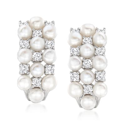 3mm Cultured Pearl and .90 ct. t.w. White Topaz Earrings in Sterling Silver