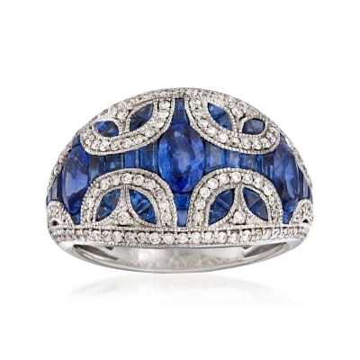 3.60 ct. t.w. Sapphire and .52 ct. t.w. Diamond Dome Ring in 14kt White Gold