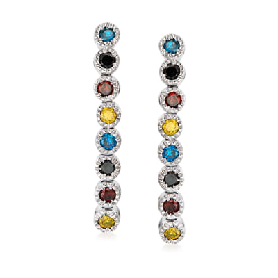 .50 ct. t.w. Multicolored Diamond Linear Earrings in Sterling Silver