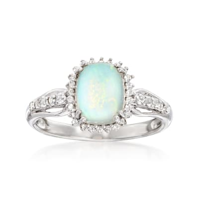 Ethiopian Opal and .35 ct. t.w. White Topaz Ring in Sterling Silver