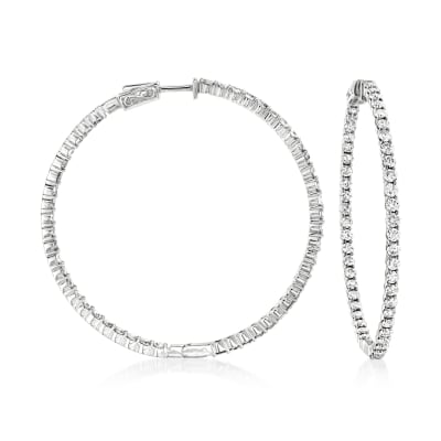 6.50 ct. t.w. Diamond Inside-Outside Hoop Earrings in 14kt White Gold