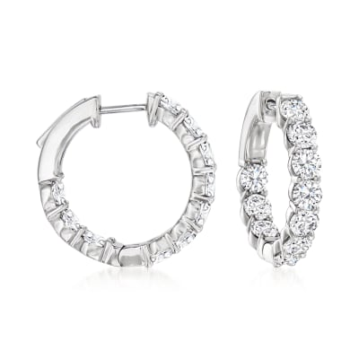 4.00 ct. t.w. Diamond Inside-Outside Hoop Earrings in Platinum