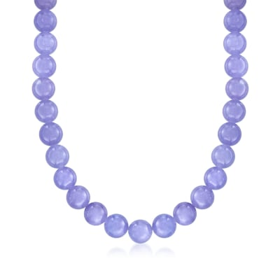 10mm Lavender Jade Bead Necklace with 14kt Yellow Gold