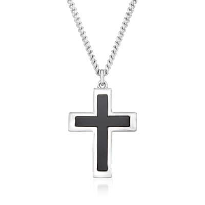 Men's Black Onyx and Sterling Silver Cross Pendant Necklace