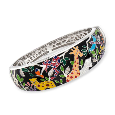 "Belle Etoile ""Serengeti"" Black and Multicolored Enamel Bangle Bracelet in Sterling Silver"