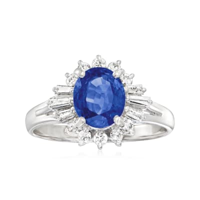 C. 2000 Vintage 1.74 Carat Sapphire Ring with .38 ct. t.w. Diamonds in Platinum
