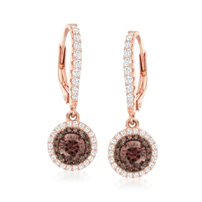1.20 ct. t.w. Brown and White CZ Drop Earrings in 18kt Rose Gold Over Sterling