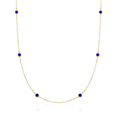 Italian Blue Enamel Station Necklace in 14kt Yellow Gold