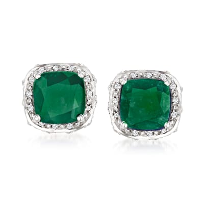4.60 ct. t.w. Emerald and .10 ct. t.w. White Topaz Stud Earrings in Sterling Silver