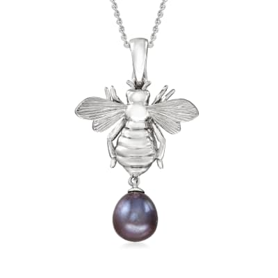 8-8.5mm Black Cultured Pearl Bumblebee Pendant Necklace in Sterling Silver