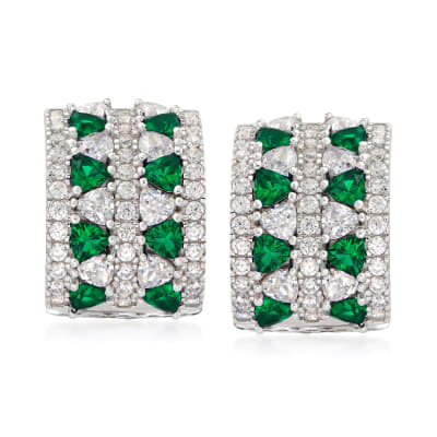 1.90 ct. t.w. CZ and .80 ct. t.w. Simulated Emerald Curved Earrings in Sterling Silver