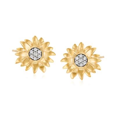 .20 ct. t.w. Diamond Sunflower Earrings in 18kt Gold Over Sterling