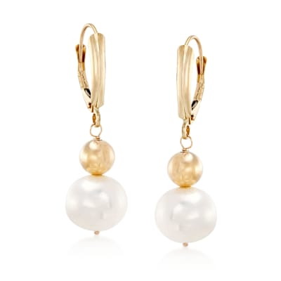 9.5-10mm Cultured Pearl Drop Earrings in 14kt Yellow Gold