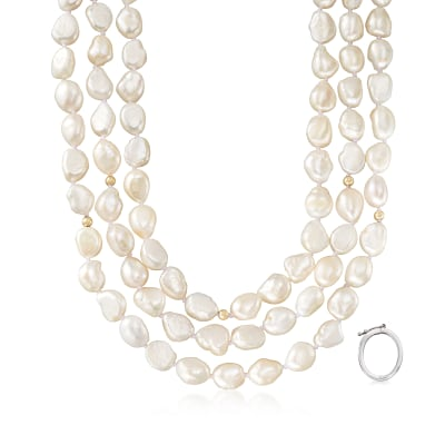 9.5-10.5mm Cultured Baroque Pearl Long Necklace in 14kt Yellow Gold with Necklace Shortener