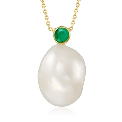 15x12mm Cultured Baroque Pearl and .30 Carat Emerald Necklace in 14kt Yellow Gold